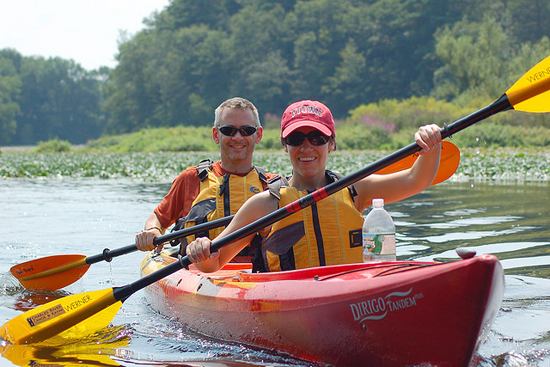 Kayaking or canoeing